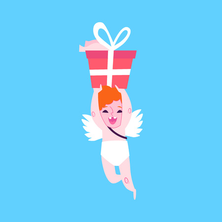 Baby amur flies on the wings, laughs and carries a gift. Cupid and angel gives a romantic gift, flat cartoon illustration on a blue background.