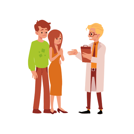 Doctor and unhappy family having infertility problems with baby birthing flat vector illustration isolated on white background. Couple of man and woman can not get pregnant.