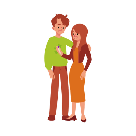 Happy couple man and woman smiling after find out positive pregnancy test result flat vector illustration isolated on white background. Parenting and fertility concept.  イラスト・ベクター素材