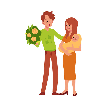 Happy family father and mother with newborn baby flat vector illustration isolated on white background. Happy loving parents enjoy the birth of their child. Vecteurs