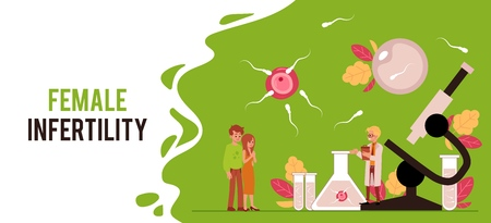 Scientist working on infertility treatment or artificial fertilization for couples vector flat illustration background. Banner template with copy space.