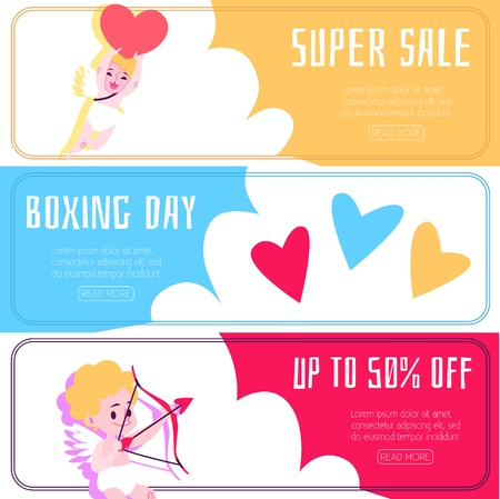 Banner with discounts and sales with angels and cupids. Romantic banner set with angels, cupids and amur in flat cartoon style, vector illustration.
