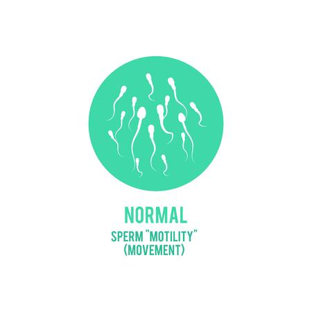 Vector normal spermatozoids motility or movement concept. Male fertility, healthy semen icon. Reproductive men health, medical fertilization design element.