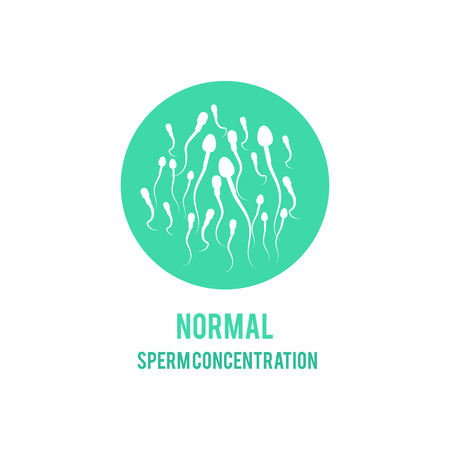 Vector normal spermatozoids concentration or number concept. Male fertility, healthy semen icon. Reproductive men health, medical fertilization design element.
