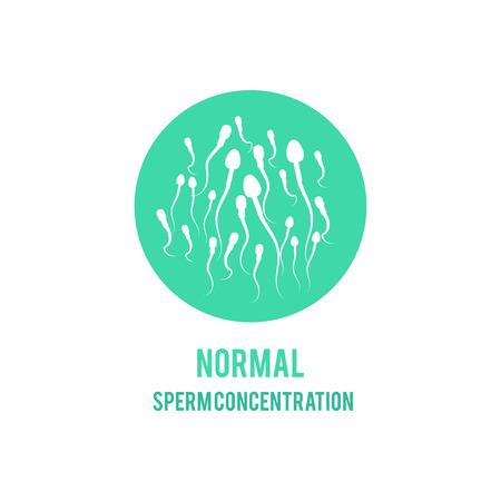 Wektor normalny koncepcja stężenia lub liczby plemników. Płodność męska, ikona zdrowego nasienia. Zdrowie reprodukcyjne mężczyzn, element projektu nawożenia medycznego.