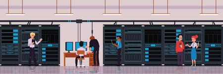 Concept de centre de données ou de salle de serveurs avec des personnages d'ingénieurs en technologie ou de bannière de travailleurs informatiques avec stockage en nuage et illustration vectorielle à plat de serveur d'échange de données.