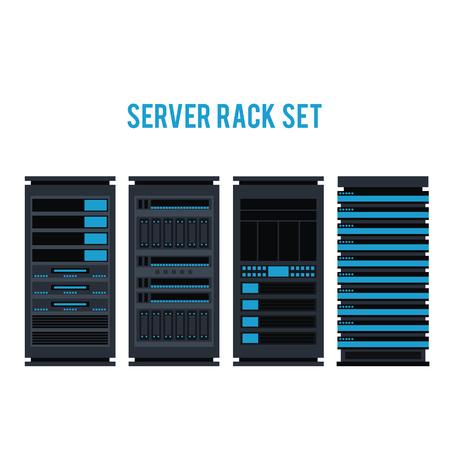 Vector server rack icon set. Data warehouse, storage center hardware design element. Information technology hub. Database network equipment. Cloud computing host server.