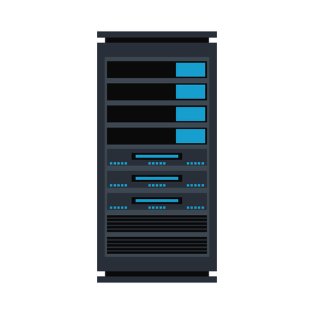 Vector server rack icon. Data warehouse, storage center hardware design element. Information technology hub. Database network equipment. Cloud computing host server. Stock Illustratie