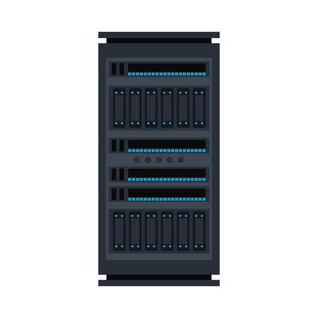 Vector server rack icon. Data warehouse, storage center hardware design element. Information technology hub. Database network equipment. Cloud computing host server. Stock Vector - 122852243