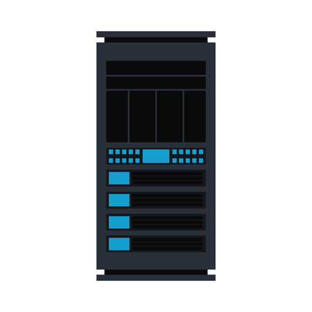Vector server rack icon. Data warehouse, storage center hardware design element. Information technology hub. Database network equipment. Cloud computing host server. Illustration