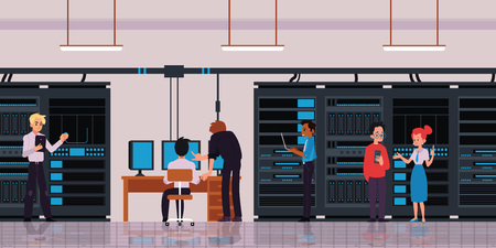 Server room or data center with characters of technology engineers or IT workers horizontal banner with cloud storage and data exchange server flat vector illustration.