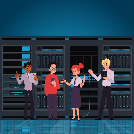 People working data center room or computer hosting server monitoring information horizontal banner or template flat vector illustration. Internet technology business. Ilustração