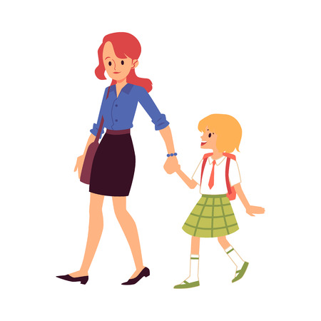 Mom leads or escorts the daughter to school everyday women in parenting care vector illustration isolated on white background. Mother and child daily chores.