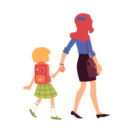 La mamma conduce o accompagna la figlia a scuola le donne di tutti i giorni nella vista posteriore dell'illustrazione di vettore di cura dei genitori isolata su priorità bassa bianca. Compiti quotidiani della madre e del bambino.