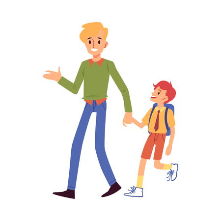 Dad or father leads his son boy to school everyday man in parenting care vector flat illustration isolated on white background. Family and parents daily chores.