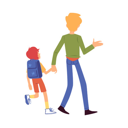 Dad or father leads his son boy to school view from the back, parenting care vector flat illustration isolated on white background. Family and parents daily chores.