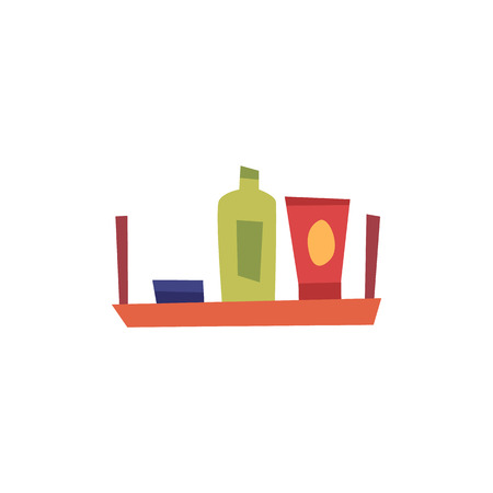 Bath body care accessories and bottles on shelf in bathroom flat design vector illustration isolated on white background. Shower gels and shampoo bottles icons.