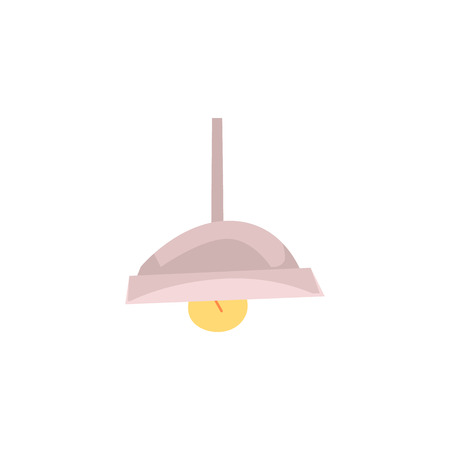 White clean hanging spot element of ceiling in the modern bathroom flat vector illustration isolated on white background. Burning lamp with lampshade icon. Stockfoto - 122852254