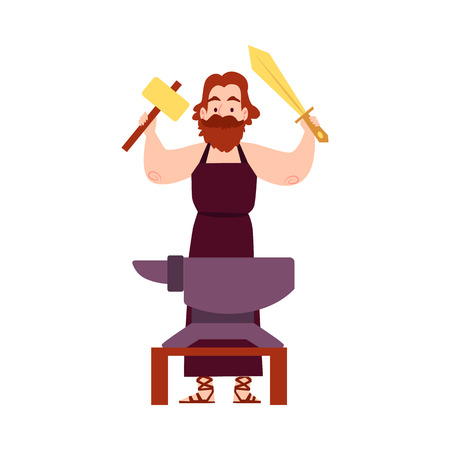 Man or Hephaestus Greek God stands at anvil with hammer and sword cartoon style, vector illustration isolated on white background. Vulcan mythological smith in apron holding weapon in arms raised up Standard-Bild - 128169818