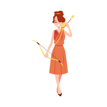 Woman or Artemis Greek Goddess stands holding bow and arrow cartoon style, vector illustration isolated on white background. Diana mythological queen of hunting and fertility and chastity Illustration