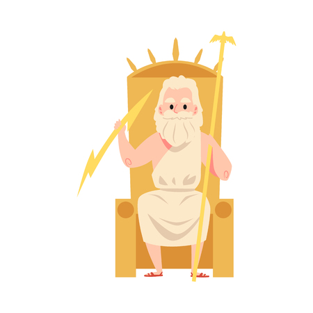 Man or Zeus Greek God sits on throne holding staff and lightning cartoon style, vector illustration isolated on white background. Jupiter mythological father or ruler of sky and thunder Foto de archivo - 122852283