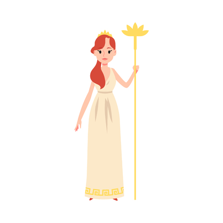 Woman or Hera Greek Goddess stands holding golden staff cartoon style, vector illustration isolated on white background. Juno mythological queen of marriage and family and childbirth Illustration