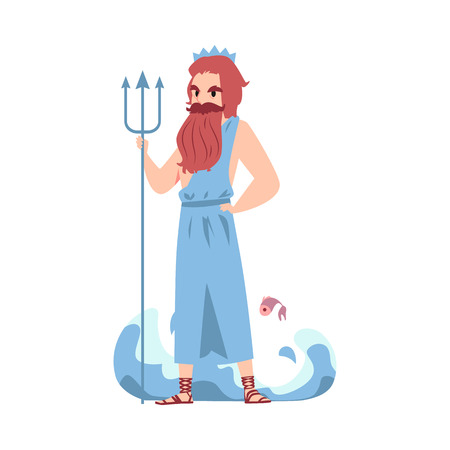 Man or Poseidon Greek God stands holding trident and water wave cartoon style, vector illustration isolated on white background. Neptune mythological king of sea with staff Archivio Fotografico - 122852295