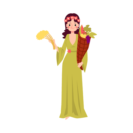 Woman or Demeter Greek Goddess stands holding cornucopia and wheat cartoon style, vector illustration isolated on white background. Ceres mythological queen of harvest with horn of plenty