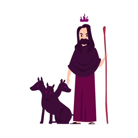 Man or Hades Greek God stands with three-headed dog holding staff cartoon style, vector illustration isolated on white background. Pluto mythological king of dead and underworld with Cerberus