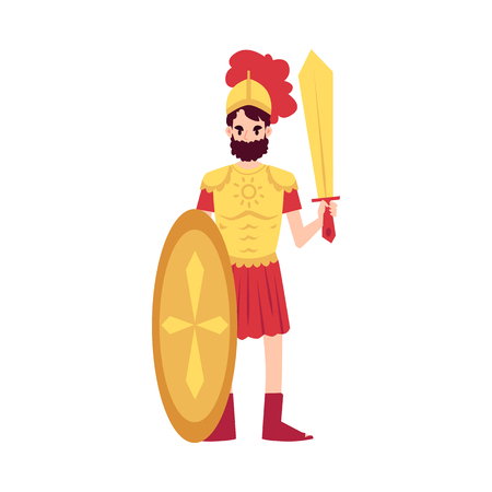 Man or Ares Greek God stands in armor holding sword and shield cartoon style, vector illustration isolated on white background. Mars mythological God of war with weapon in helmet Illustration