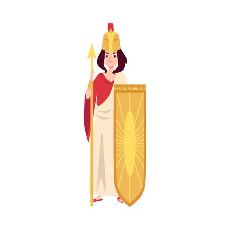 La mujer o la diosa griega Atenea se encuentra sosteniendo la lanza y el escudo estilo de dibujos animados, ilustración vectorial aislado sobre fondo blanco. Minerva reina mitológica de la guerra y la sabiduría y la estrategia. Ilustración de vector
