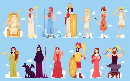 Greckie postacie bogini starożytnych legend greckich i rzymskich oraz mitologii zestaw ilustracji ikon wektorowych płaski na niebieskim tle. Męscy i żeńscy bogowie gór.