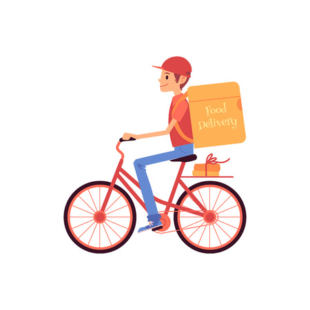 Delivery man riding bicycle and shipping thermo bag and boxes cartoon style, vector illustration isolated on white background. Male courier of food delivery service is driving bike with backpack