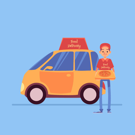 Smiling delivery man stands holding pizza box near car cartoon style, vector illustration isolated on blue background. Male pizza or pie courier with automobile, food delivery service Vettoriali