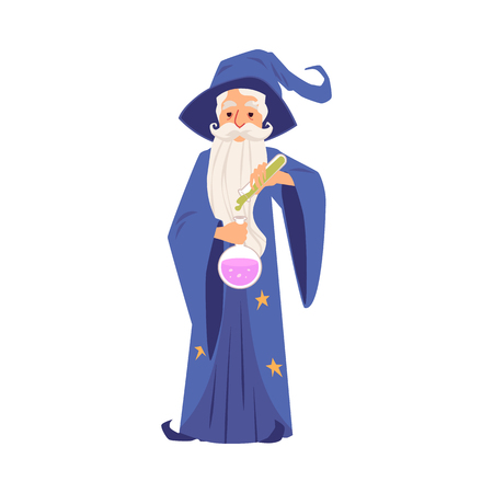 Old wizard man in robe and hat stands holding test tube and flask cartoon style, vector illustration isolated on white background. Bearded witcher in mantle pours magic potion into bulb