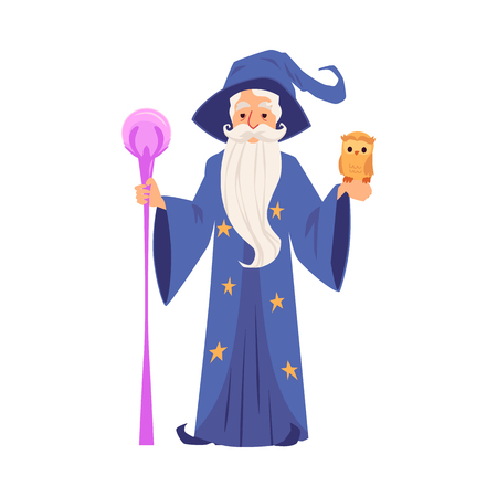 Old wizard man in robe and hat stands holding staff and owl cartoon style, vector illustration isolated on white background. Bearded magician or witcher in mantle with magic wand