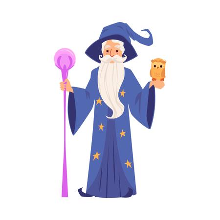 Viejo mago en bata y sombrero está sosteniendo el personal y el estilo de dibujos animados de búho, ilustración vectorial aislado sobre fondo blanco. Mago barbudo o brujo en manto con varita mágica Ilustración de vector