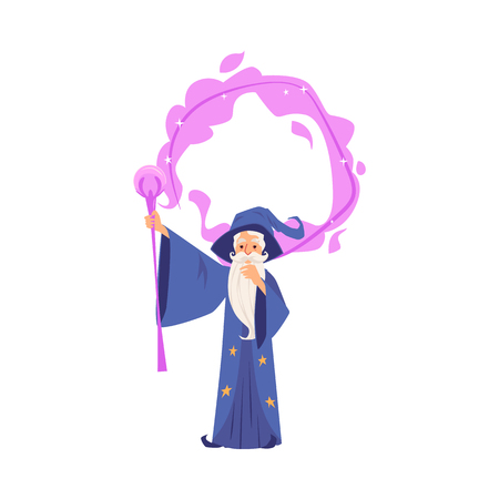 Old wizard man in robe and hat stands making magic by staff cartoon style, vector illustration isolated on white background. Bearded magician or witcher in mantle conjures with holding raised wand