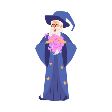 Old wizard man in robe and hat stands making magic in his hands cartoon style, vector illustration isolated on white background. Bearded magician or witcher in mantle conjures manually
