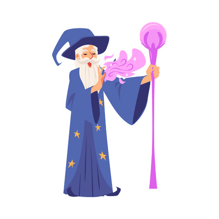 Old wizard man in robe and hat stands with staff and makes magic cartoon style, vector illustration isolated on white background. Bearded magician holds wand and conjures by his hand Vector Illustration