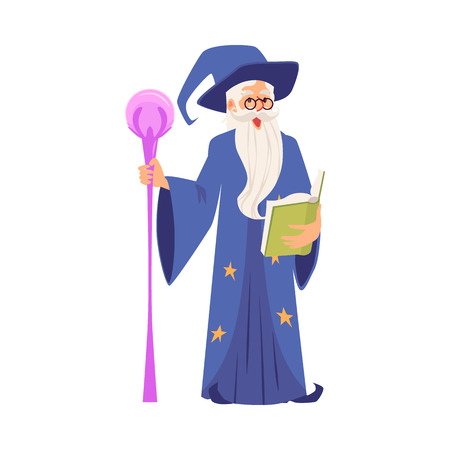 Old witch man or medieval warlock in wizards robe saying magic spelling in hat and mantle with mystery book flat vector illustration isolated on white background.