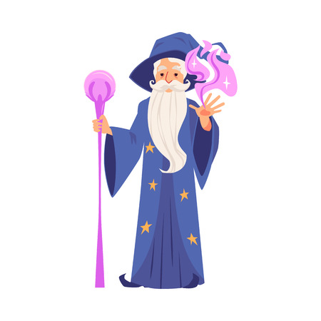 Fantasy wizard or bearded magician cartoon character in magic hat and robe creates magic or conjures flat cartoon vector illustration isolated on white background.