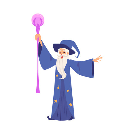 Bearded magician fantasy wizard cartoon character in magic hat and robe creates magic or conjures flat vector illustration isolated on white background. Old sorcerer.