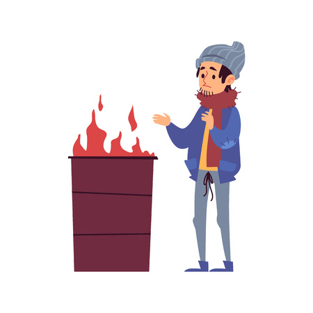 Homeless man stands warming his hands by fire burning in barrel cartoon style, vector illustration isolated on white background. Poor male beggar warming near burning trash can