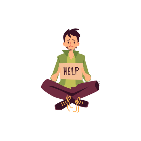 Homeless man sitting legs crossed and holding help asking sign cartoon style, vector illustration isolated on white background. Poor male beggar with carton sign board