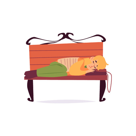 Homeless man sleeping on bench with head lying on bag cartoon style, vector illustration isolated on white background. Poor abandoned male lies sleeping outdoors on park bench Illustration