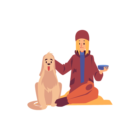 Homeless woman sitting with dog and holding begging bowl cartoon style, vector illustration isolated on white background. Poor female beggar and her pet asking money at street