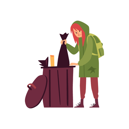 Homeless woman in hoody standing and rummaging in trash can cartoon style, vector illustration isolated on white background. Poor female beggar is looking for food among garbage, poverty concept