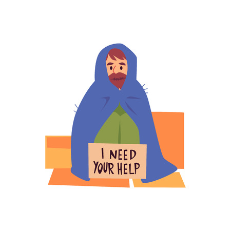 Homeless man in cape sits on cardboard sheet with help asking sign cartoon style, vector illustration isolated on white background. Poor male beggar with carton sign board
