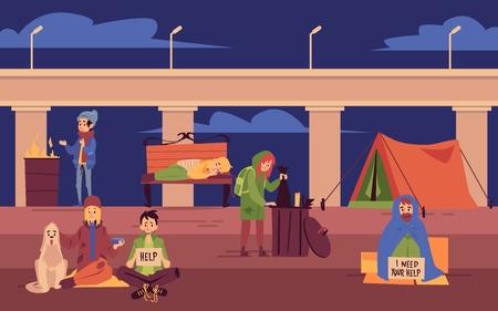 Jóvenes sin hogar que pasan la noche al aire libre bajo el estilo de dibujos animados de puente, ilustración vectorial sobre fondo de paisaje urbano. Pobres hombres y mujeres y perros sentados, viviendo y durmiendo en la calle
